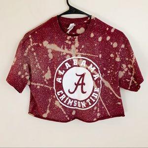 Alabam Roll Tide Bleached Crop Graphic Tee Shirt